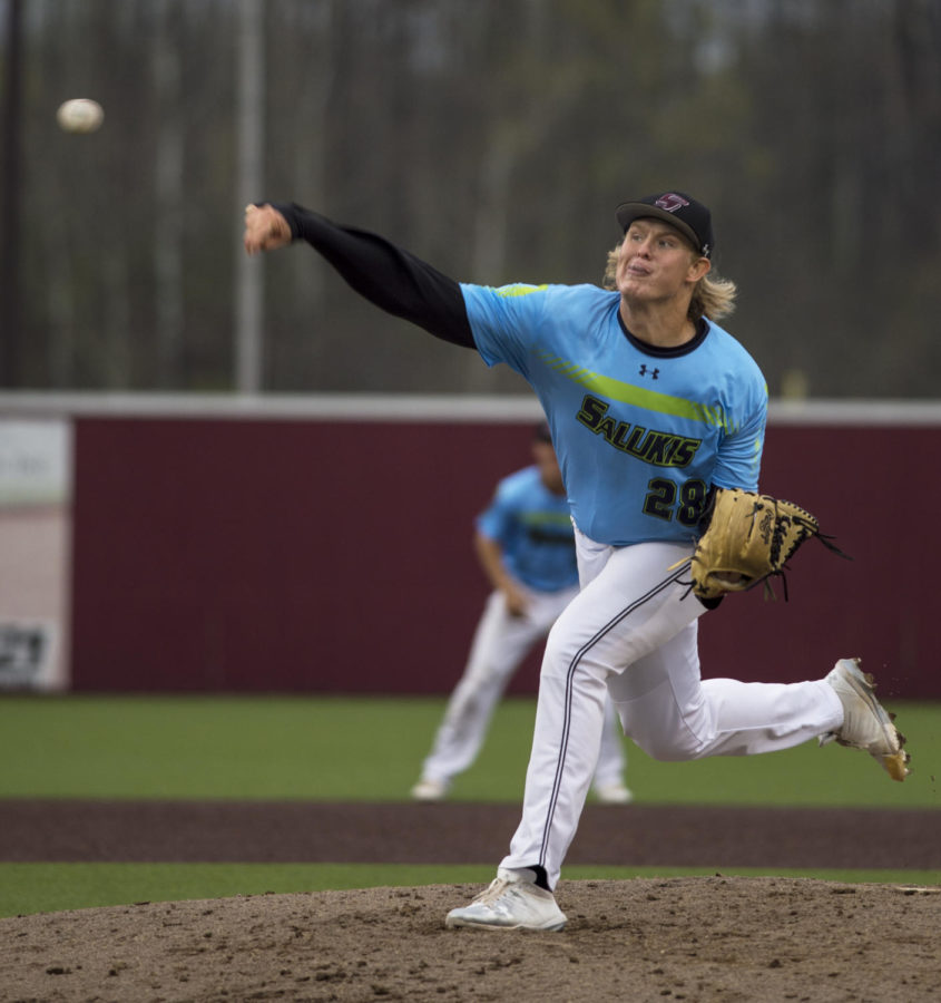 Sophomore Dylan Givens, 28, of Paducah, Ky. pitches the ball, Tuesday, April 24, 2018, at Itchy Jones stadium during the Saluki's 2-0 win against Southeast Missouri State University.