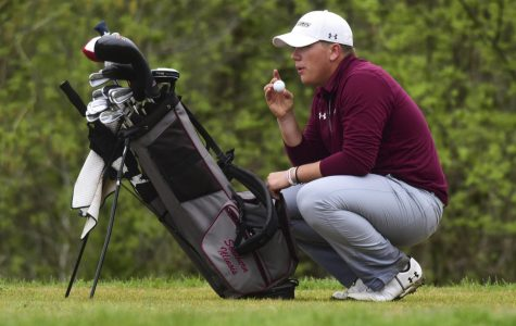 Junior golfer Peyton Wilhoit prepares for his next drive Tuesday, April 24, 2018, during the final round of the Missouri Valley Conference Championships at the Dalhousie Golf Club in Cape Girardeau, Missouri. (Cameron Hupp | @CHupp04)