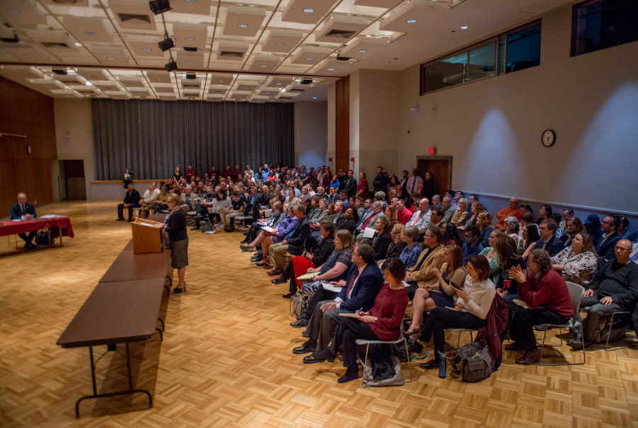 FILE IMAGE: The crowd listens to former Faculty Senate president Kathy Chwalisz speak in support of SIU Chancellor Carlo Montemagno Wednesday, April 11, 2018, during the SIU Board of Trustee's working day meeting in the student center. (Brian Munoz | @BrianMMunoz)