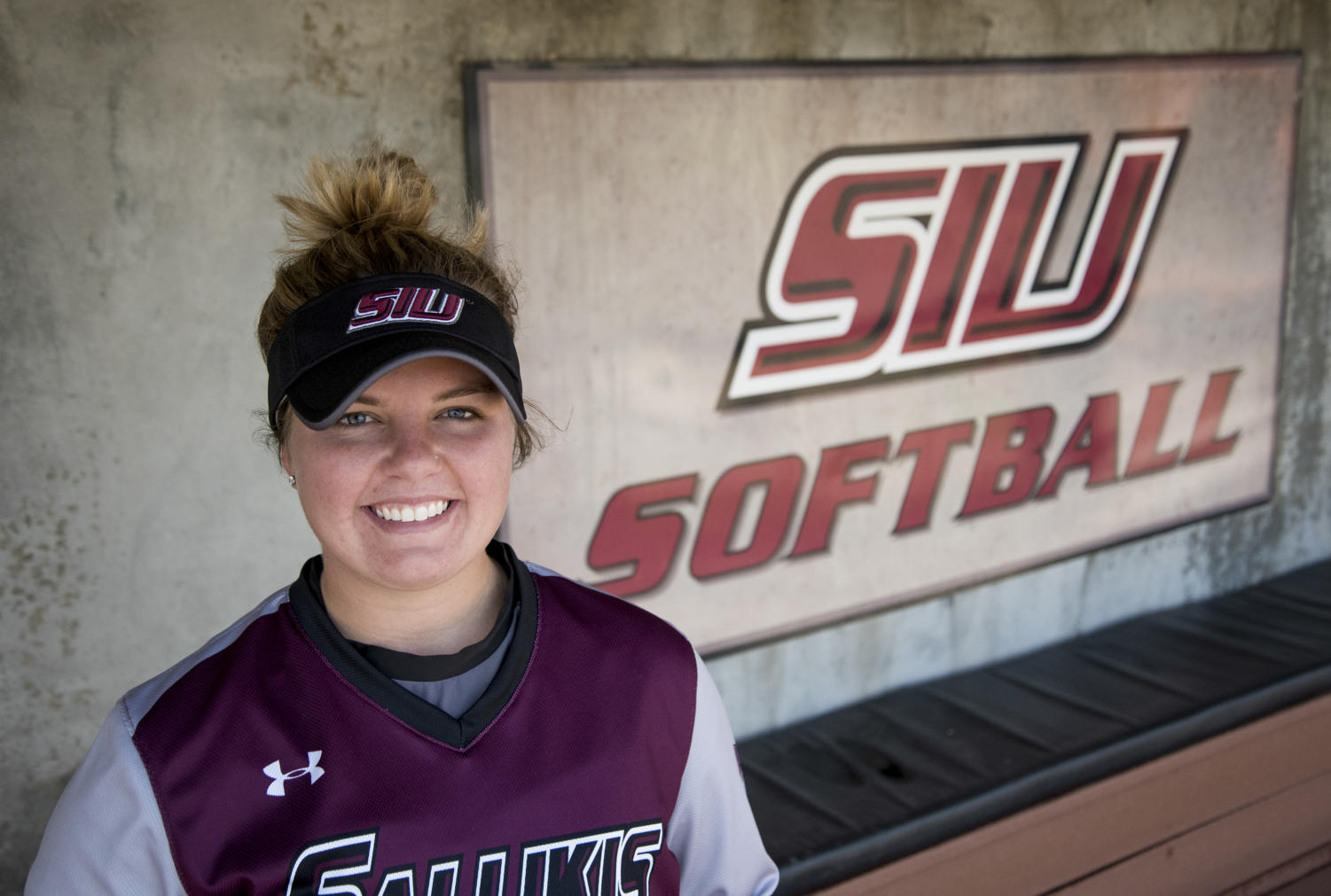Junior pitcher Brianna Jones poses for a portrait on Thursday, April 12, 2018, at Charlotte West Stadium in Carbondale. Jones has taken the MVC by storm and has earned her spot near the top of starting pitchers in the conference. (Cameron Hupp | @CHupp04)