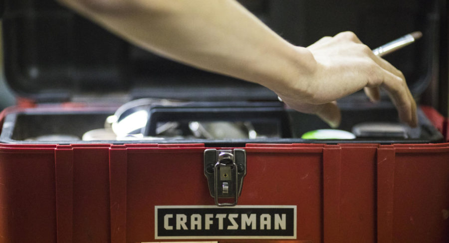 A craftsman toolbox is used as a makeup container, Saturday, April 7, 2018, during the Total Eclipse of the Heart Drag Show in the Student Center. (Corrin Hunt   @CorrinIHunt)
