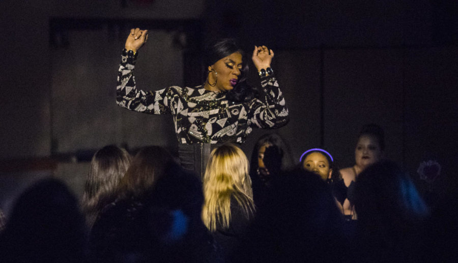 Seduxion Carrington dances in front of a crowd, Saturday, April 7, 2018, while performing at the Total Eclipse of the Heart Drag Show in the Student Center. (Corrin Hunt   @CorrinIHunt)