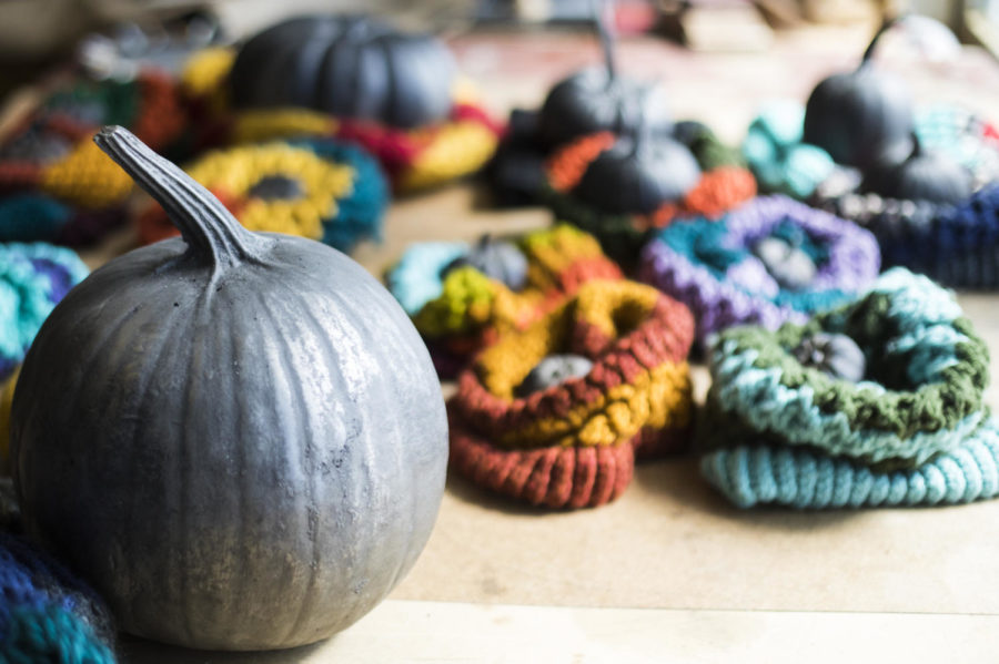 A piece by Jam Lovell, a MFA candidate in sculpture from East Peoria, of pumpkins casted in iron and wrapped in scarves, pictured Friday April 20, 2018, in her studio at the SIU Glove Factory. (Corrin Hunt   @CorrinIHunt)