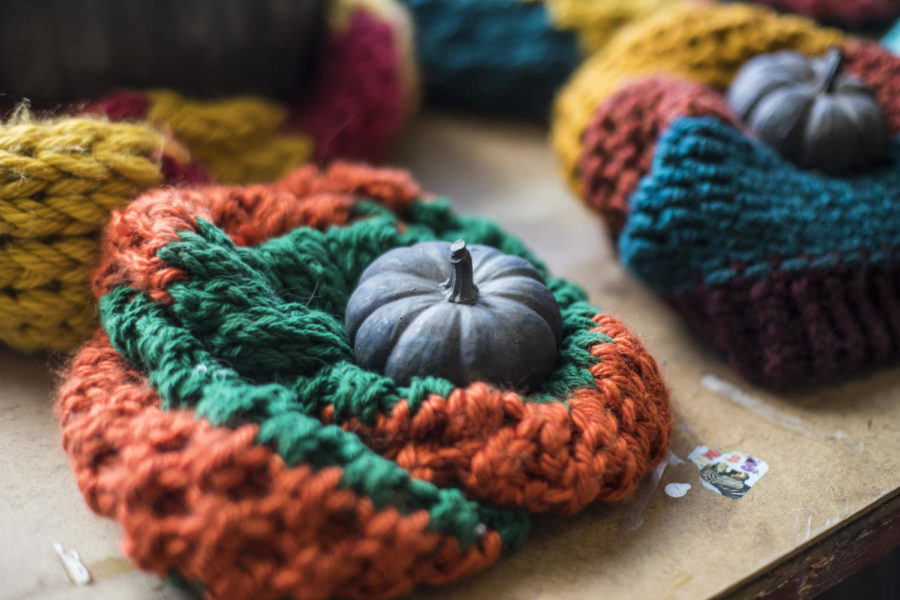 Part of a piece by Jam Lovell, a MFA candidate in sculpture from East Peoria, using pumpkins casted in iron and wrapped in scarves, pictured Friday April 20, 2018, in her studio at the SIU Glove Factory. (Corrin Hunt   @CorrinIHunt)