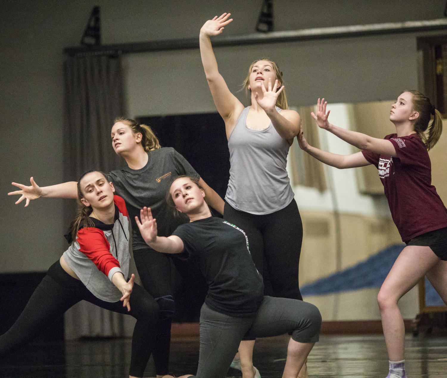Members from the Southern Illinois Dance Company practice the start of a dance Thursday, April 13, 2018, during a rehearsal in preparation for the SIDC Spring Concert in the Furr Auditorium. (Corrin Hunt | @CorrinIHunt)