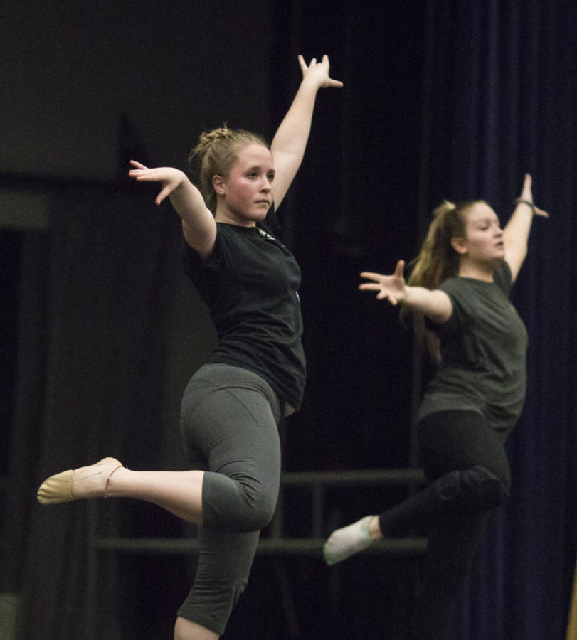 Clair Bammann, a junior studying civil engineering, practices a dance Thursday, April 13, 2018, during a rehearsal in preparation for the SIDC Spring Concert in the Furr Auditorium. (Corrin Hunt   @CorrinIHunt)