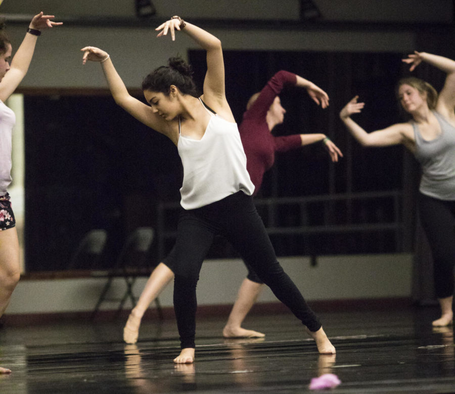 Emily+Perez%2C+a+freshman+studying+radiology+sciences%2C+practices+a+dance+with+other+members+of+the+Southern+Illinois+Dance+Company+Thursday%2C+April+13%2C+2018%2C+during+a+rehearsal+in+preparation+for+the+SIDC+Spring+Concert+in+the+Furr+Auditorium.+%28Corrin+Hunt+%7C+%40CorrinIHunt%29