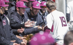 Southern Illinois senior infielder Drew Curtis (19) gets congratulated by his teamates after hitting a homerun, Saturday, April 7, 2018, during the Valparaiso University Crusaders 6-2 victory against the Southern Illinois Salukis at Itchy Jones Stadium. (Corrin Hunt | @CorrinIHunt)