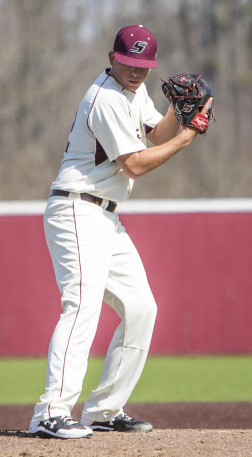 Southern Illinois senior Jamison Steege (32) gets ready to pitch the ball, Saturday, April 7, 2018, during the Valparaiso University Crusaders 6-2 victory against the Southern Illinois Salukis at Itchy Jones Stadium. (Corrin Hunt   @CorrinIHunt)