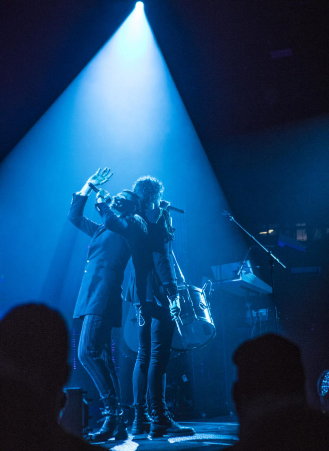 Joel Smallbone, left, and Luke Smallbone both lead singers for the band King and Country, sing together, Thursday, April 26, 2018, during the Skillet and King and Country concert at the Southern Illinois University Arena. (Corrin Hunt   @CorrinIHunt)