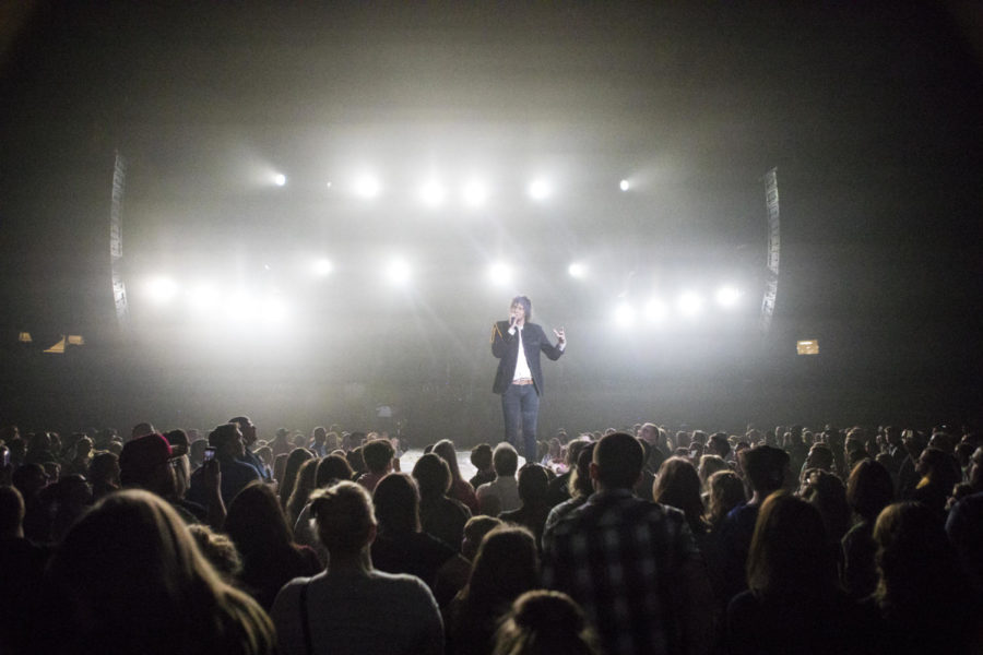 Luke Smallbone, a lead singer for the band King and Country, sings in front of a crowd, Thursday, April 26, 2018, during the Skillet and King and Country concert at the Southern Illinois University Arena. (Corrin Hunt   @CorrinIHunt)