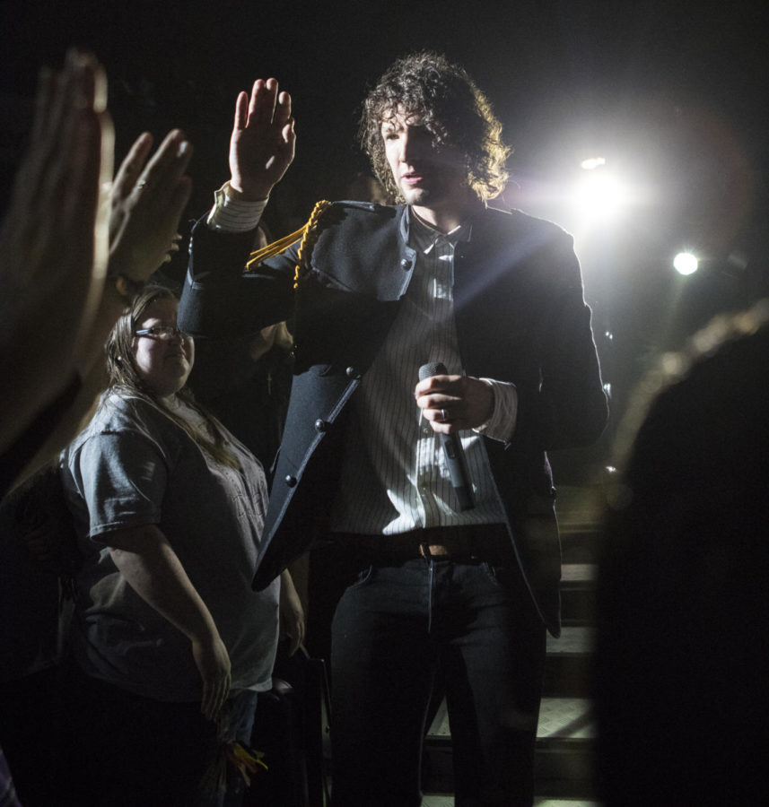 Luke Smallbone, a lead singer for the band King and Country, interacts with the crowd, Thursday, April 26, 2018, during the Skillet and King and Country concert at the Southern Illinois University Arena. (Corrin Hunt   @CorrinIHunt)
