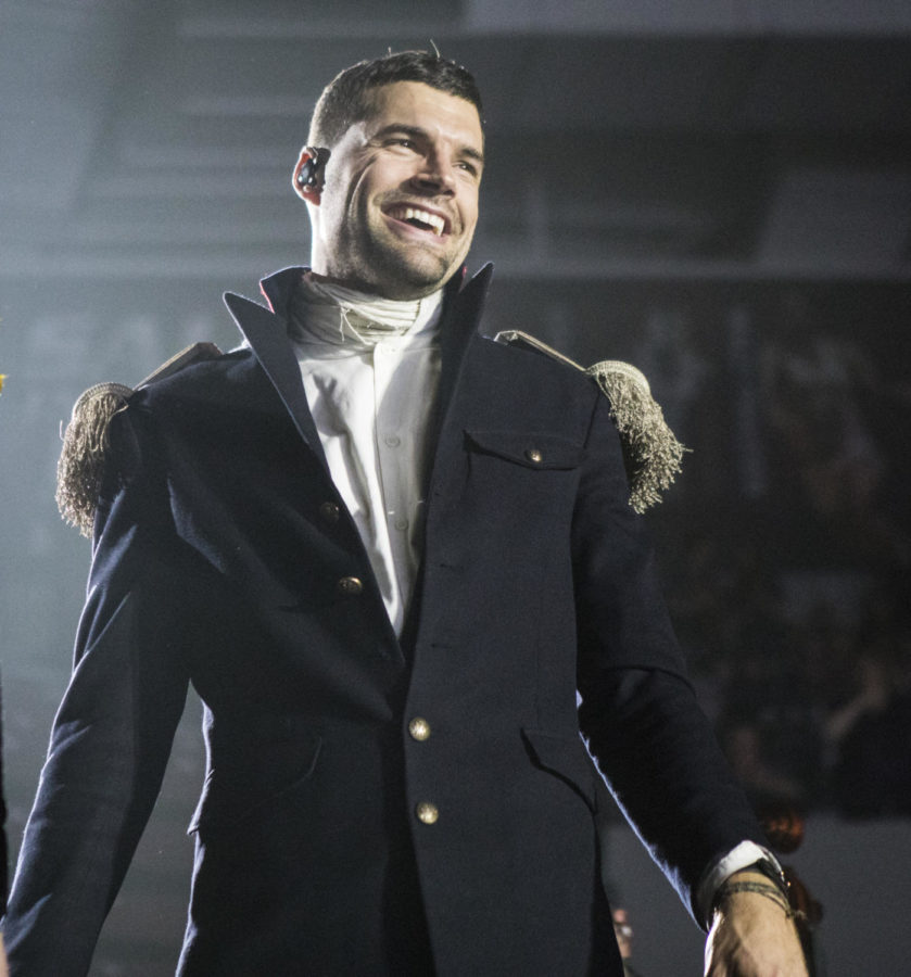 Joel Smallbone, a lead singer for the band King and Country, smiles at the crowd, Thursday, April 26, 2018, during the Skillet and King and Country concert at the Southern Illinois University Arena. (Corrin Hunt   @CorrinIHunt)