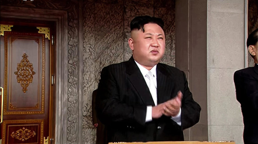 North Korean leader Kim Jong-un presides over a military parade on April 15, 2017. (Yonhap News/Newscom/Zuma Press/TNS)