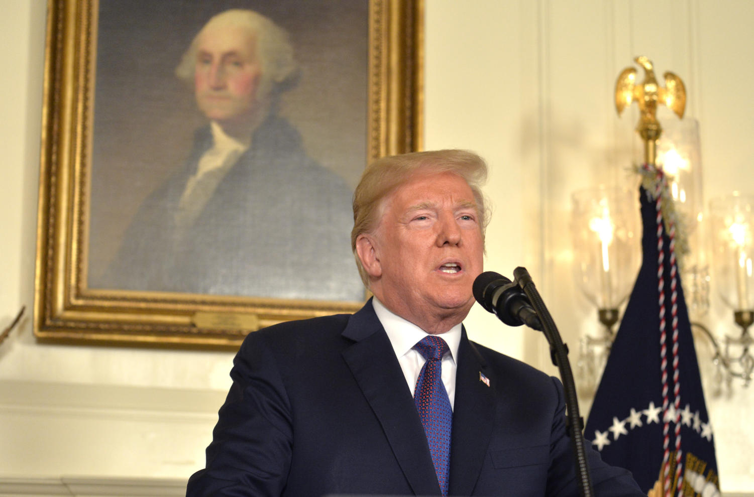 President Donald Trump announces military action against Syria for the recent gas attack on civilians, at the White House in Washington, D.C., on Friday, April 13, 2018. (Mike Theiler/Sipa USA/TNS)