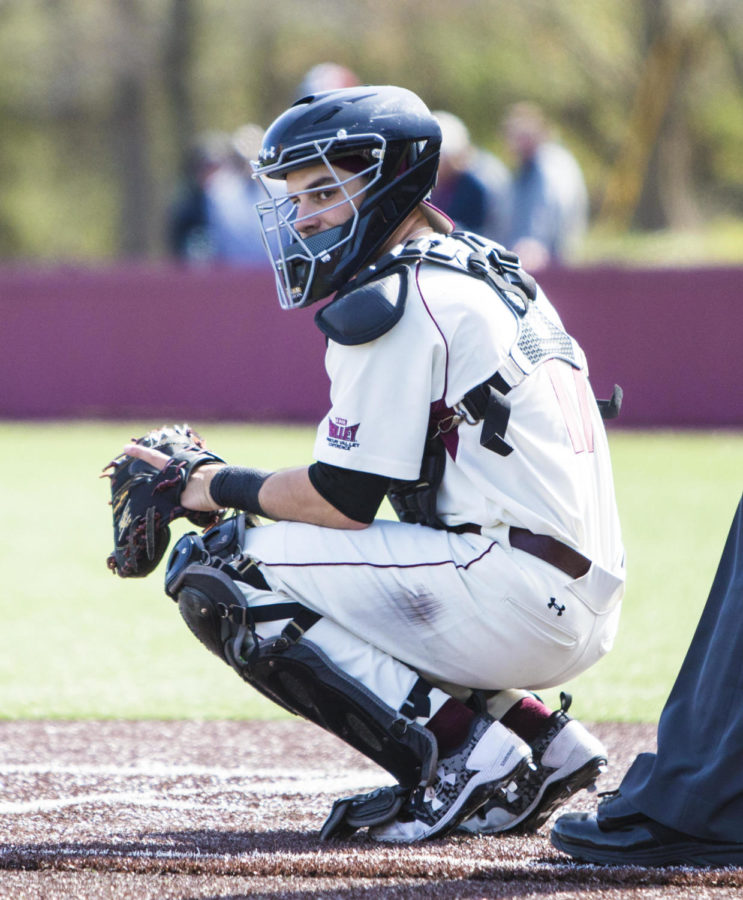 Southern Illinois sophmore catcher Austin Ulick (17) looks back at the dogout, Saturday, April 7, 2018, during the Valparaiso University Crusaders 6-2 victory against the Southern Illinois Salukis at Itchy Jones Stadium. (Corrin Hunt   @CorrinIHunt)