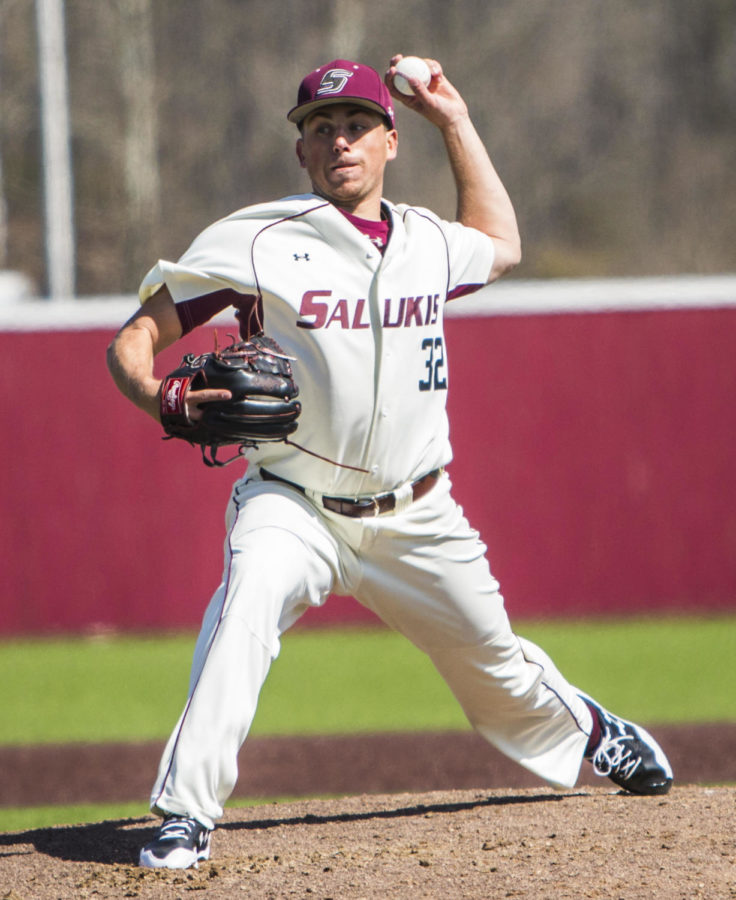 Southern Illinois senior Jamison Steege pitches the ball, Saturday, April 7, 2018, during the Valparaiso University Crusaders 6-2 victory against the Southern Illinois Salukis at Itchy Jones Stadium. (Corrin Hunt | @CorrinIHunt)