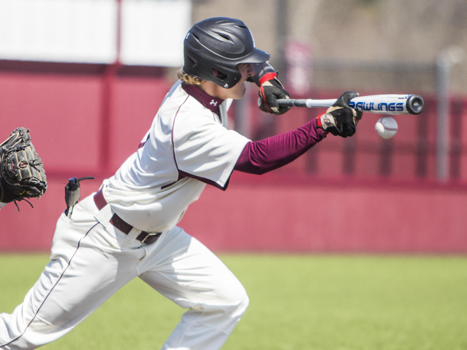 Southern Illinois infielder Connor Kopach (7) bunts the ball, Saturday, April 7, 2018, during the Valparaiso University Crusaders 6-2 victory against the Southern Illinois Salukis at Itchy Jones Stadium. (Corrin Hunt | @CorrinIHunt)