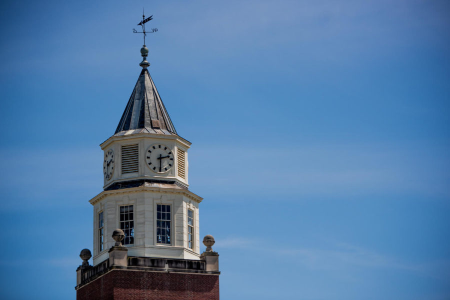 The Pulliam Hall clocktower strikes 2:30 p.m. on Tuesday, May 8, 2018, at Southern Illinois University in Carbondale, Illinois.