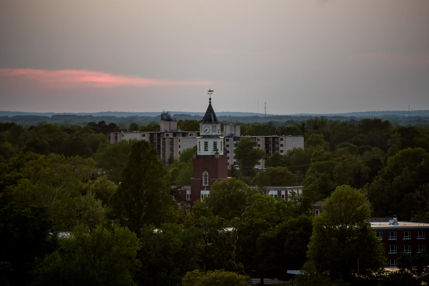 Pulliam Hall towers over the Carbondale skyline on Tuesday, May 8, 2018, at Southern Illinois University in Carbondale, Illinois.