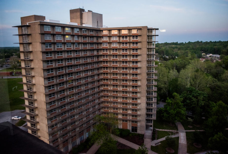 Schneider Hall on Tuesday, May 8, 2018, at Southern Illinois University in Carbondale, Illinois. The three high-rise dormitories will be closed in the fall due to low enrollment.