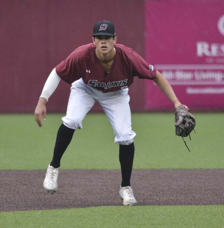 Freshman infielder Grey Epps prepares for a pitch Friday, May 4, 2018, during the Salukis' 3-2 win against the Indiana State Sycamores at Itchy Jones Stadium. (Cameron Hupp | @CHupp04)