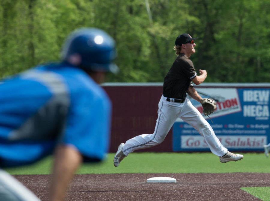 Senior infielder Connor Kopach makes a running throw to first base Sunday, May 6, 2018, during the Salukis' 11-3 loss against the Indiana State Sycamores at Itchy Jones Stadium. (Cameron Hupp | @CHupp04)