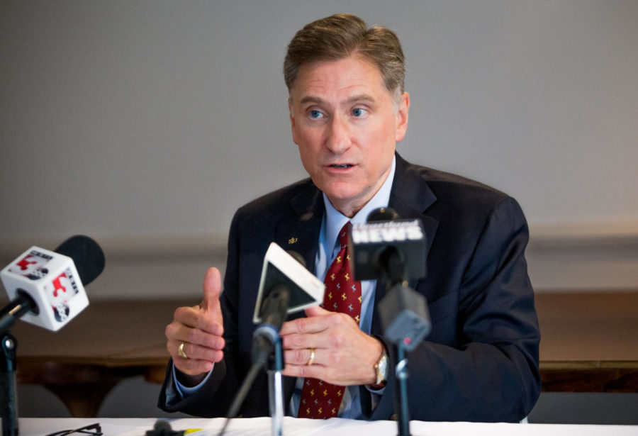"SIU President Randy Dunn speaks to press on Friday, May 18, 2018, during a press conference in the Stone Center. Dunn held the conference following the release of emails and notes where he said that the 60/40 funding split between Edwardsville and Carbondale campuses was to ""simply to shut up the bitchers from Carbondale who are saying loudly we shouldn't even be doing the $5.125M at this time."""