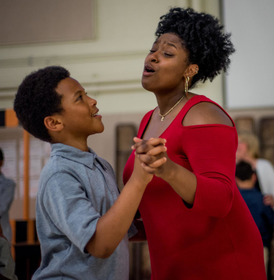 Malika Ashford-Smith dances with her cousin Synsear Scott-Ross on Friday, May 18, 2018, at the annual Delta Sigma Theta Sorority Alumnae Chapter Mother and Son dance at Thomas Elementary school in Carbondale.