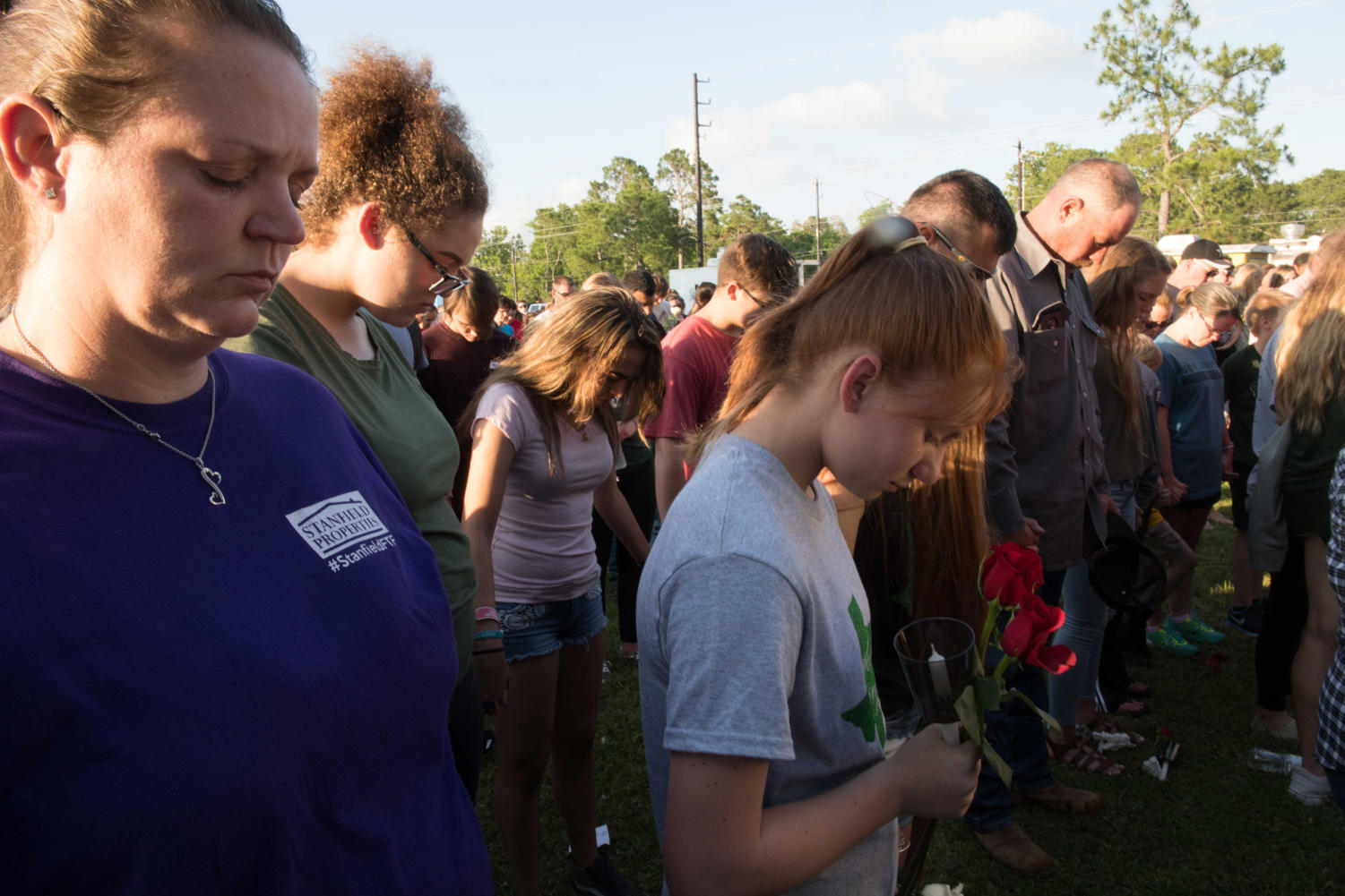 A vigil is held for victims of a deadly shooting at Santa Fe High school on May 18, 2018. Ten people were killed and 10 wounded in a shooting Friday morning at a high school south of Houston, authorities said. (Carolina Sanchez-Monge/Zuma Press/TNS)