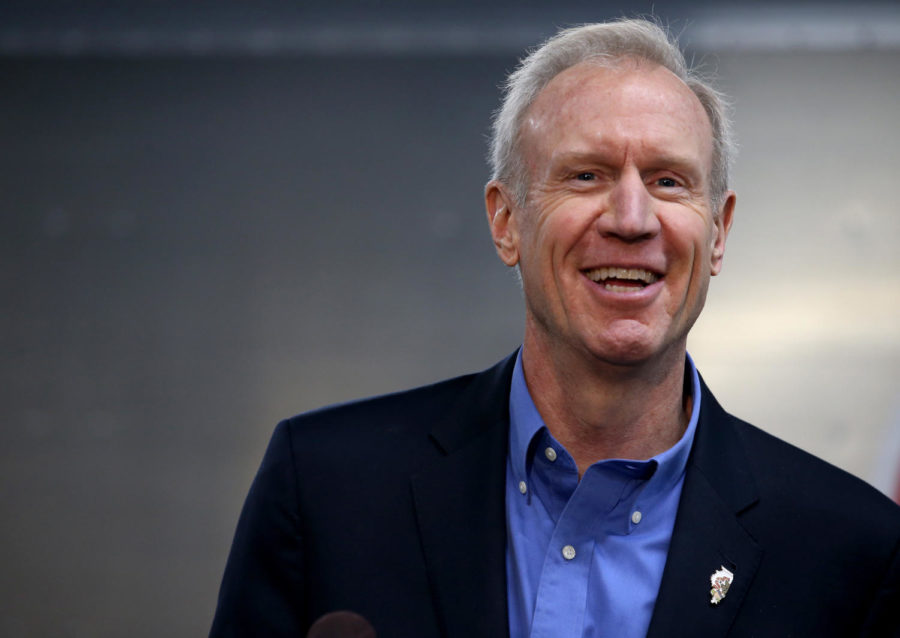 Governor Bruce Rauner speaks out during a press conference for an announcement of a donation from AptarGroup and Adapt Pharma, Thursday, Feb. 8,2018.  The donation will go to help prevent opioid deaths.  (Antonio Perez/ Chicago Tribune)