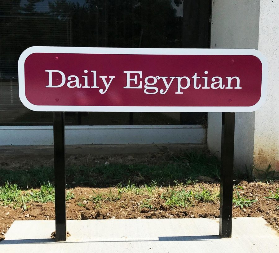 A new Daily Egyptian sign donated by SIU alum Steve Brown. (Mary Newman | @MaryNewmanDE)