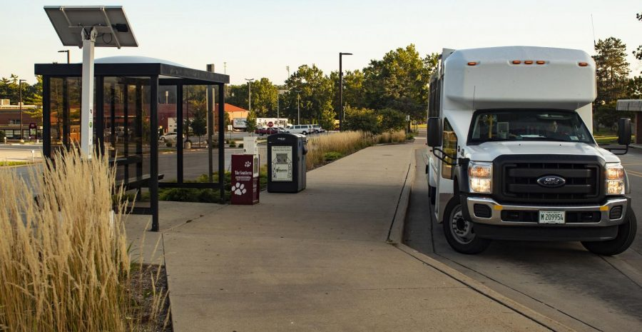 The Saluki Express pulls into the stop, Monday, Sept. 3, 2018, at the bus stop outside the Student Center. (Nick Knappenburger | @DeKnappenburger)