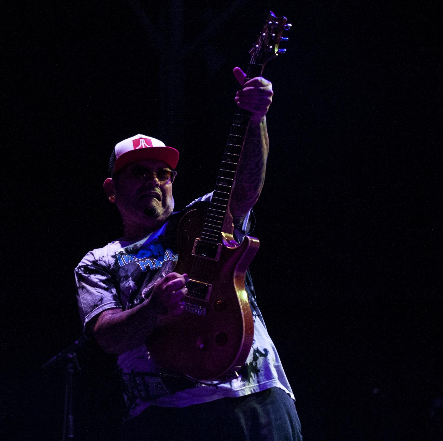 Marcos+Curiel+of+P.O.D.+holds+up+his+guitar+during+their+performance+Friday%2C+Aug.+31%2C+2018%2C+during+the+Gen+X+Tour+inside+the+Grandstand+stadium+at+the+Du+Quoin+State+Fair.+%28Mary+Barnhart+%7C+%40MaryBarnhartDE%29