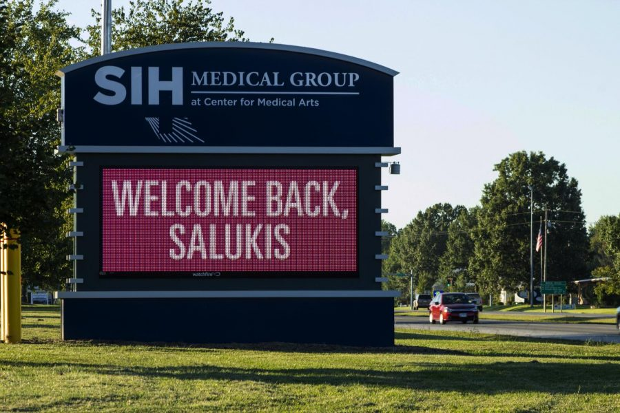 SIH Medical Group sign welcomes returning Saluki's for their fall semester on Thursday, September 13, 2018. (Carson VanBuskirk | @carsonvanbDE)