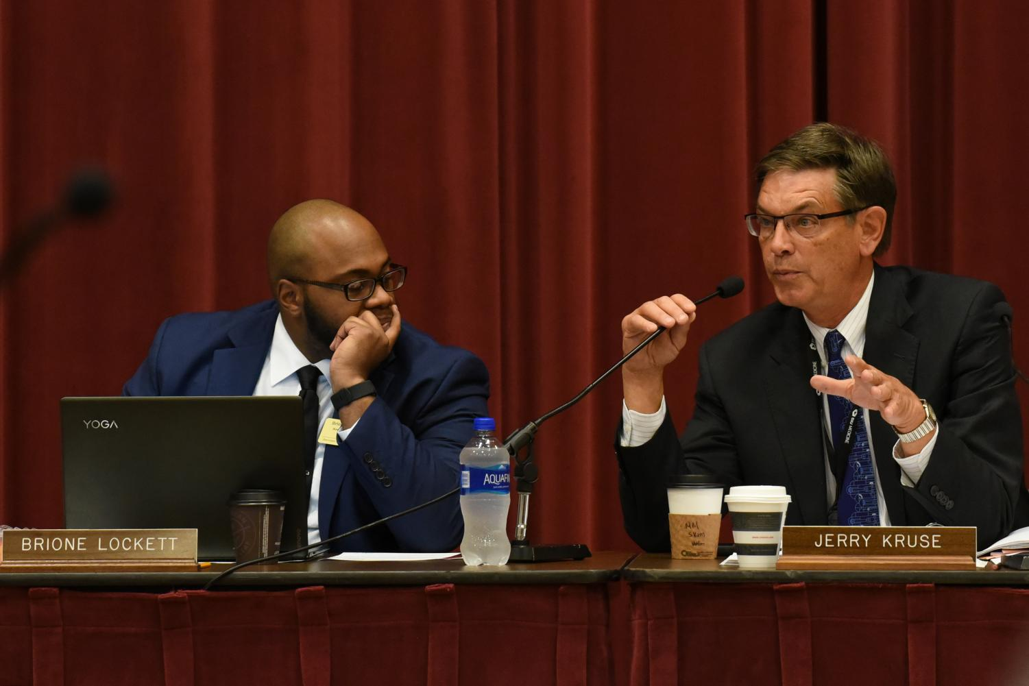 SIU School of Medicine Dean and Provost Jerry Kruse responds to a presentation, next to SIUC Student Trustee Brione Lockett at the SIU Board of Trustees meeting Thursday, Sept. 13, 2018, in the Meridian Ballroom at SIUE. (Jeremy Brown   @JeremyBrown_DE)
