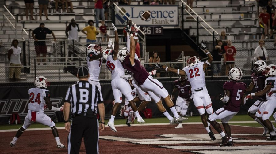 """SIU's final """"Hail Mary"""" pass of the game is incomplete, and SEMO escapes with the 48-44 victory, at the SIU versus SEMO football game at the SIU Arena, on Saturday, Sept. 15, 2018. (Carson VanBuskirk 