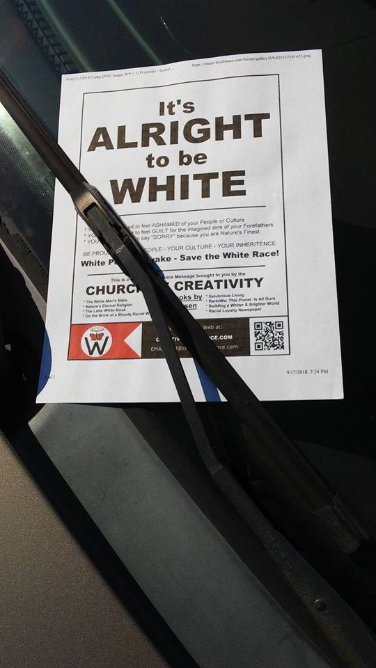 A racist propaganda flier on the windshield of a car at John A. Logan Community College on Tuesday.