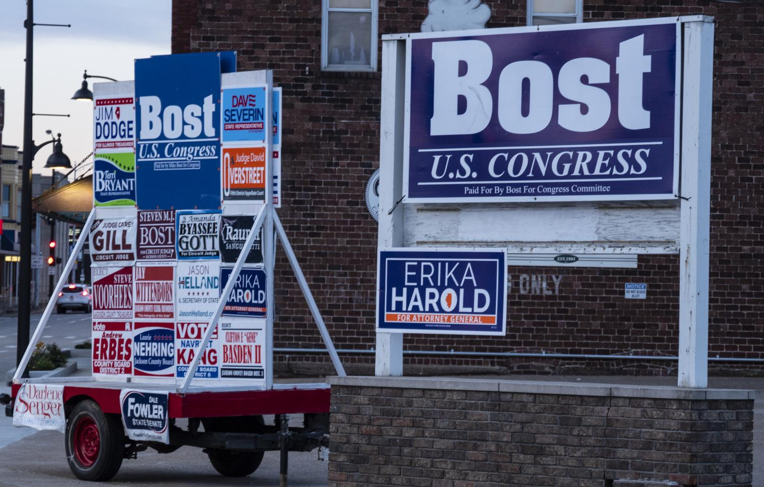 Campaign signs are posted along Route 13 in Carbondale as Illinois' Election Day grows nearer, on Oct. 17, 2018. (Carson VanBuskirk | @carsonvanbDE)
