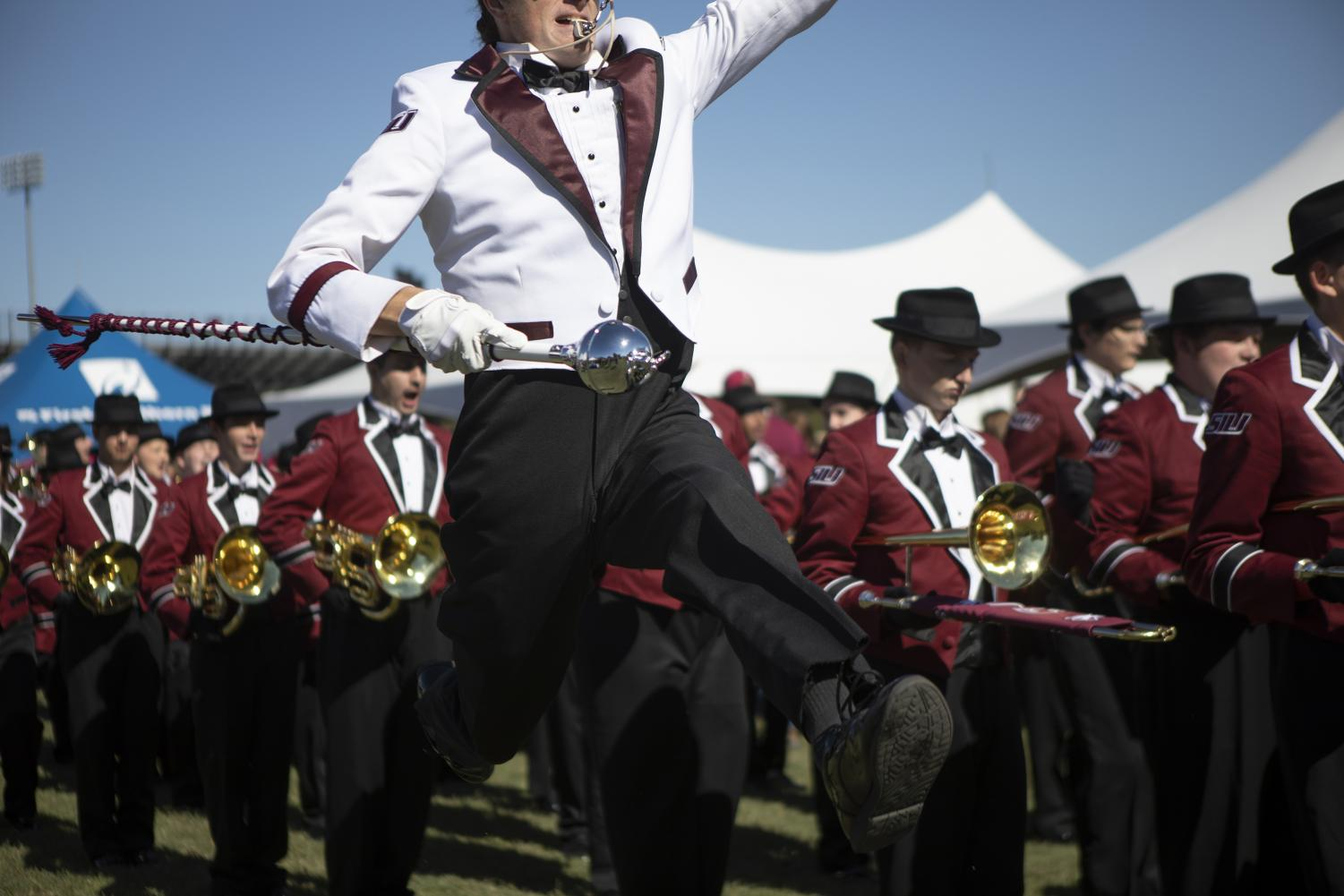 The+Marching+Salukis+perform+for+tailgaters+before+the+game+at+Saluki+Stadium%2C+Saturday%2C+Oct.+20%2C+2018.+%28Isabel+Miller+%7C+%40IsabelMillerDE%29