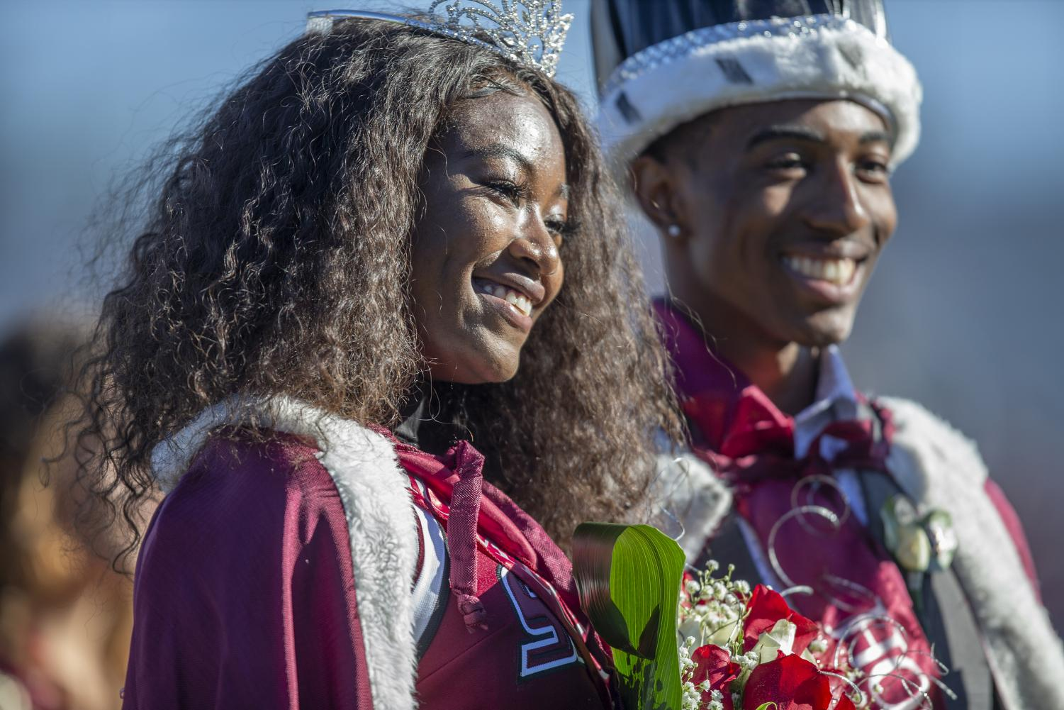 Homecoming+queen+Alaysia+Brandy%2C+a+junior+studying+biological+sciences+and+pre-medicine+poses+with+homecoming+king+Toussaint+Mitchell%2C+a+junior+studying+cinema+and+photography+during+of+the+Salukis%27+24-21+loss+against+the+Indiana+State+Sycamores+at+Saluki+Stadium%2C+Saturday%2C+Oct.+20%2C+2018.+%28Isabel+Miller+%7C+%40IsabelMillerDE%29