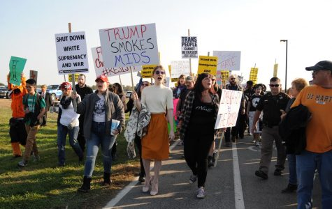 Protesters gather at Trump rally