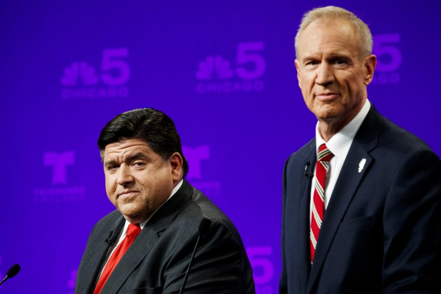 Illinois Gov. Bruce Rauner, right, and Democratic challenger J.B. Pritzker attend a televised debate at the NBC studios in Chicago on Thursday, Sept. 20, 2018. (Armando L. Sanchez/Chicago Tribune/TNS)