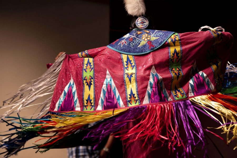Aaliyah Begay, 15, of Chicago, shows off her shawl while performing the fancy shawl dance for the Native American Heritage Month kick-off event, Thursday, Nov. 1, 2018. (Allie Tiller | @allietiller_de)