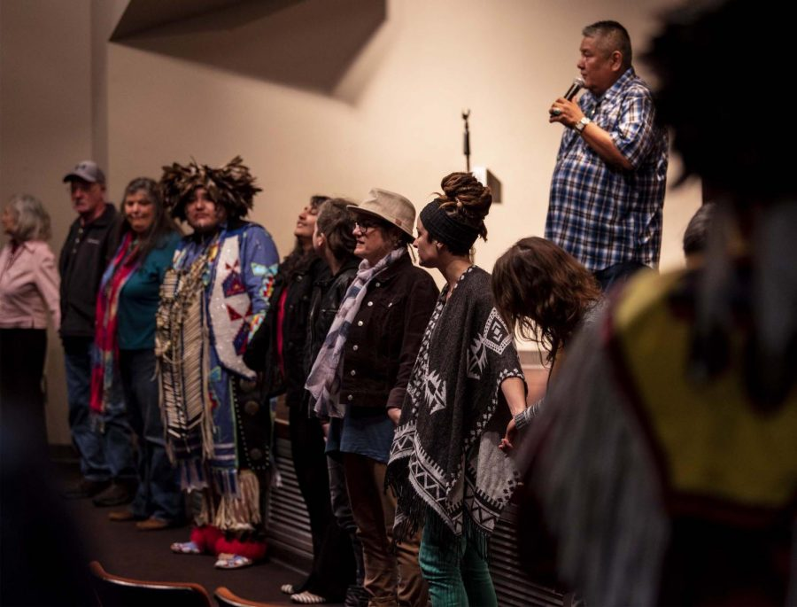 Samuel+Begay%2C+57%2C+of+Chicago%2C+guides+participating+audience+members+in+performing+a+traditional+Native+American+dance+in+the+student+center+for+the+Native+American+Heritage+Month+kick-off+event%2C+Thursday%2C+Nov.+1%2C+2018.+%E2%80%9CI+like+coming+out+here+to+speak+about+our+culture%2C+about+the+American+Indian%2C+let+them+know+what+they+hear+in+the+history+books%2C+try+to+straighten+it+out+to+let+them+know+they+never+tell+our+side+of+the+story%2C%22+Begay+said.+%E2%80%9CI+really+like+to+stress+it+in+Illinois+because+Illinois+is+the+only+state+that+we+do+not+have+a+reservation%2C+but+American+Indians+did+travel+through+here%2C%22+Begay+said.+%28Allie+Tiller+%7C+%40allietiller_de%29