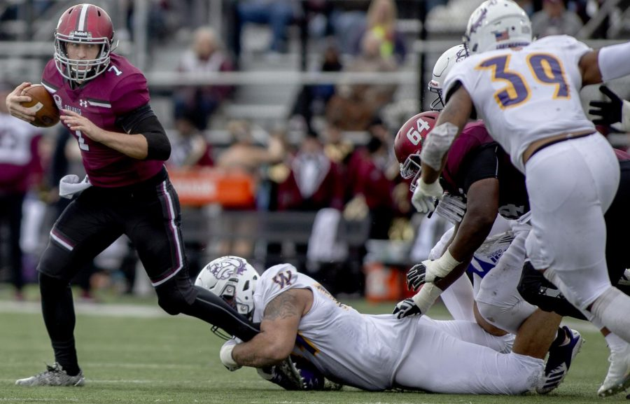 Senior quarterback, Matt DeSomer, advances the ball during the Salukis' 34-31 loss against the Western Illinois Leathernecks at Saluki Stadium, Saturday, Nov. 3, 2018. (Isabel Miller | @IsabelMillerDE)