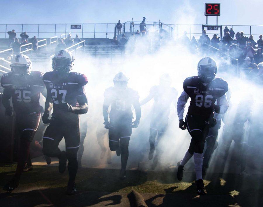 The+Saluki+football+team+runs+out+onto+the+field+for+their+last+home+football+game+against+South+Dakota+State%2C+Saturday%2C+Nov.+10%2C+2018.+%28Allie+Tiller+%7C+%40allietiller_de%29
