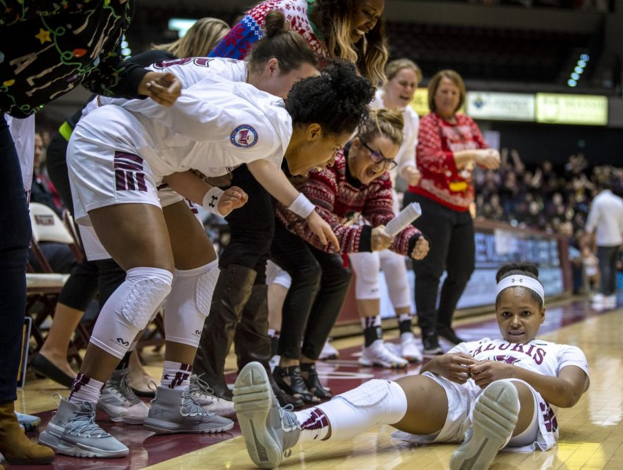 After+being+fouled%2C+junior+guard+Kristen+Nelson+gets+up+off+the+floor+on+Friday%2C+Dec.+21%2C+2018%2C+during+the+Saluki%E2%80%99s+78-73+win+in+overtime+against+the+IUPUI+Jaguars+at+SIU+Arena.+Nelson+scored+14+points+during+the+game.+%28Isabel+Miller+%7C+%40IsabelMillerDE%29