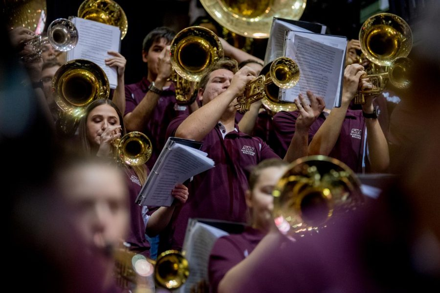 The Saluki Pep Band performs on Wednesday, December 12, 2018 during the first half of the Salukis matchup against the Murray State Racers.