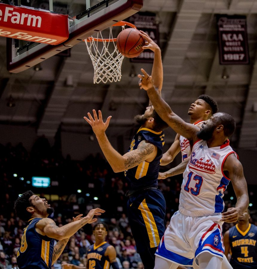 Murray State Racers forward Mike Davis goes for a basket on Wednesday, December 12, 2018 during the first half of the Salukis matchup against the Murray State Racers.